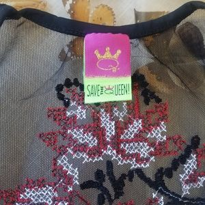 Save The Queen Dresses - Save the Queen Embroidered Sheer Mesh Maxi Dress